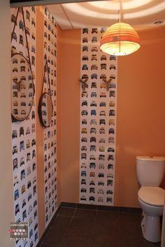 Rénovation et décoration à Lamballe (auto-école), décoration toilettes, papier peint voitures, suspension bois, miroir suspendu