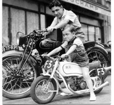 This reminds me of me & my dad when he had his Harley & I had my little chopper he built.