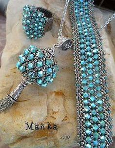 Sikhara crystal bracelet and beaded bead pendant by Manka. Beautiful!