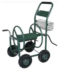 garden hose reel on trolley with basket u0026 connector hose watering equipment - Garden Hose Reels