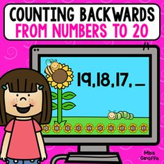 Counting backwards from numbers to 20 digital math game Number Sense Activities, Graphing Activities, Counting Activities, Class Activities, Kindergarten Activities, Preschool, Activity Centers, Math Centers, Learning Centers