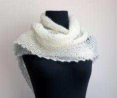 Hand Knit Asymmetrical Lace Scarf Cowl Wrap Head by PeacefulPath