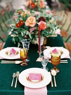 La Tavola Fine Linen Rental: Velvet Emerald with Nuovo Pink Napkins | Photography: Orange Photographie, Coordination & Styling: Field, Venue: Great Northern Resort, Florals: Habitat Floral Studio, Rentals: The Party Store, Specialty Decor: Vintage Whites Weddings and Ultrapom