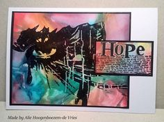 Stamped card with Alcohol Inks and plastic wrap, made by Alie Hoogenboezem-de Vries