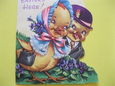Vintage CHICK COUPLE Embossed Easter Greeting by Friends4Keeps, $2.50
