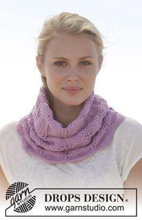 """Strikket DROPS hals i """"Cotton Merino"""" med hulmønster. ~ DROPS Design"""