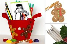 Holiday Art Tote from Stubby Pencil Studio -- great gift idea for kids!   (includes christmas sticker book, color'n kids cards Frosty friends, holiday smencils, soy crayons, colored pencils, crayon rocks, duo pencil sharpener, sniffy gingerbread pen, gingerbread red felt tote)