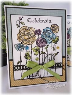 Birthday Card using Stampendous Ranunculus Field, Gelatos, and Recollections Paper