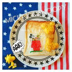 ✍ -Today's✭breakfast- ・ミキスヌトースト ✰ 可愛くて迷わず購入したミッキー型ナゲット🍖 美味しかったー😋💗 ✰ ✰ 今日も暑さ強烈🏜 ✰ 暑すぎて ❝やってられない❞ ❝やってられない❞ ❝やってられない❞ ❝てられな❞ です🕴 ↑アメトーークのブラマヨ吉田の名言。 ✰  #トーストアート #トースト #食パン #デコパン #オブラートアート #オブアートパン #ナゲット #ミッキー #mickey #スヌーピー #snoopy #snoopygram #snoopylover #peanuts #朝ごはん #おうちごはん #クッキングラム #朝時間 #todays #lin_stagrammer #delistagrammer