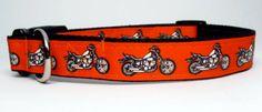Orange and Black Motorcyle Medium Large or by KibblesandCollars