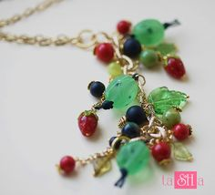 """Necklace with chain """"Frosty morning"""", lamp work, glass, coral, shungite, chrysoprase by tashabiju on Etsy"""