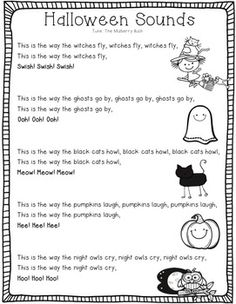 Halloween Poem by Heart of the Class - Donna Coleman Halloween Poems, Halloween Sounds, Halloween Week, Halloween Math, Best Poems, Fun Poems, Halloween Songs For Preschoolers, Writing Pictures, Preschool Songs