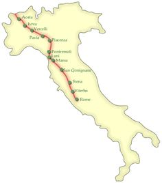 Bishop Sigeric of Canterbury made a trip to Rome in 990 to receive honors from the Pope, and documented a pilgrimage trail that passes through most of the great cities of northern Italy along the Frankish route, the Via Francigena.