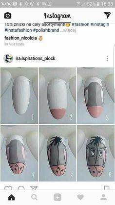 art step by step Step by step eeyore Step by step eeyore Disney Nail Designs, Nail Art Designs Videos, Nail Art Videos, Diy Disney Nails, Nail Art Hacks, Nail Art Diy, Nail Art Modele, Cute Nails, My Nails