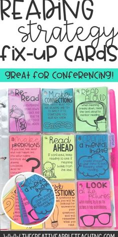 These Reading Comprehension Fix-Up Strategy Cards and Posters can be used during individual reading conferences or guided reading small groups. Reading Lessons, Reading Resources, Reading Skills, Teaching Reading, Kindergarten Guided Reading, Reading Homework, Guided Reading Activities, Guided Reading Levels, Preschool Kindergarten