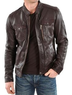 Men Leather Jacket Stylish Slim fit Soft Lambskin Bomber Biker Jacket - S118 #Handmade #BasicJacket