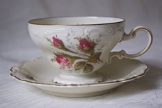 Moss Rose on Ivory Pompadour Footed Cup and by MissBettysAntiques, $35.95