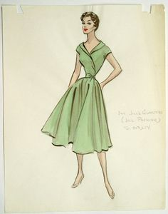 Costume sketch of a design by Edith Head for THREE RING CIRCUS (1954 Paramount).