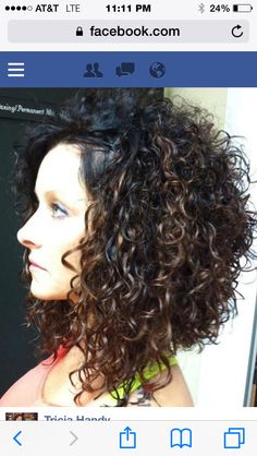 Curly inverted bob I did . Love the dark redish Violet ...  Curly inverted ...