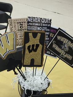 Wrestling Party, Wrestling Quotes, Wrestling Team, Graduation Party Themes, Grad Parties, Coach Gifts, Team Gifts, Sports Banquet Centerpieces, Team Dinner