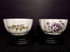 "x2 Aynsley Var-i-ete Bowls Snack Dessert 4 1/8"" Cottage Garden Wild Violets  #Aynsley"