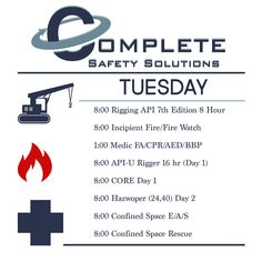Complete Safety Solutions offers several training classes each day. But we want to help you! If you don't see what you're looking for CALL US! 337-330-2933 We'll add a class any day/time you need it! #hse #completesafety