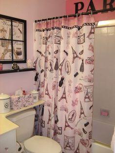 black and pink paris bathroom