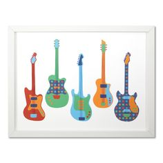 Boys Guitar Picture Framed - cute idea different colors though