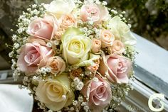 Roses and gypsophila wedding bouquet