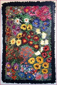 "Saltaire Daily Photo: Rag rug ""Flower Garden"" - a prodded rug by Isobel Waterhouse Proddy Rugs, Bordado Popular, Homemade Rugs, Rug Hooking Designs, Latch Hook Rugs, Hand Hooked Rugs, Weaving Projects, Woven Rug, Rug Making"