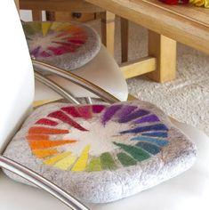 Carpet Runners With Latex Backing Referral: 1580748842 Felt Cushion, Felt Pillow, Felt Diy, Handmade Felt, Wet Felting, Needle Felting, Dandelion Designs, Diy Carpet, Carpet Ideas