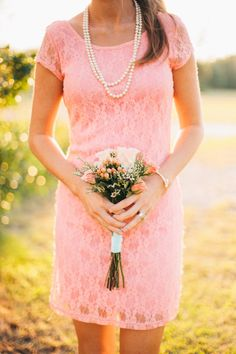 sweet lace peach bridesmaid dress