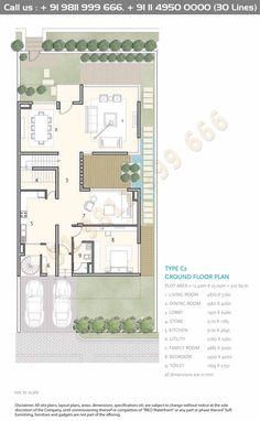 Courtyard House Plans, Duplex House Plans, House Floor Plans, House Plans And More, Small House Plans, Minimal House Design, House Construction Plan, Small Villa, Villa Plan