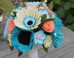 Custom Felt Flower Wedding Bouquet - DO NOT ORDER THIS LISTING (more info below)  Each bouquet will include 20 blooms on average. We will discuss what style and feel you would like to accomplish by picking out blooms from the Build Your Own Bouquet section of the store, or by sending me pictures of new blooms you would like me to try and design. I love a challenge! Not all flowers can be copied to perfection but I do my best to capture the essence and style of whatever flower you challenge…