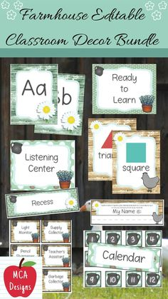 Check out my Farmhouse Editable Classroom Décor Bundle! This features all you need to have a fresh new look for your classroom this fall! Check out the preview for a quick look at this colorful theme. My Farmhouse Classroom Décor Bundle features my ENTIRE Farmhouse collection including several editable features! #teacherspayteachers #tpt Classroom Décor, 5th Grade Classroom, Classroom Supplies, Classroom Posters, Classroom Organization, School Resources, Teaching Resources, Classroom Resources, 1st Grade Activities