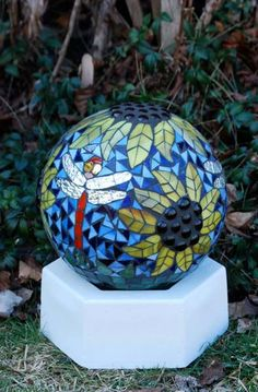 Gazing Ball Goldfinch in the Sunflowers Stained Glass Mosaic