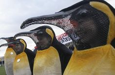 Protesters wearing penguin costumes at a climate protest in Berlin, timed with the 2007 climate summit in Bali.
