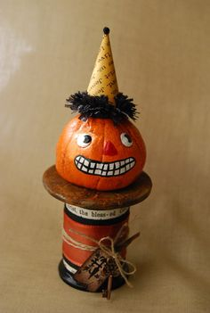 Mixed Media Vintage Style Pumpkin.