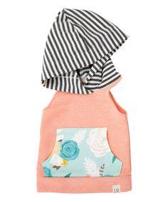 Peach & Vintage Rose Sleeveless Hoodie - Infant & Kids