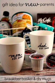 Gift idea for new parents is a breakfast basket for two with pancakes, syrup, and McCafé premium coffee.