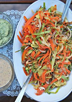 ADDICTED to VEGGIES: Tender Mixed Veggie Ribbon Pasta with Almond Satay or Creamy Ranch-Pesto