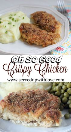 Oh So Good Crispy Chicken recipe from Served Up With Love. Super easy to put together and it smells ah-mazing while it is cooking. The end result is a flavorful and moist chicken that even the pickiest of eaters will enjoy. http://www.servedupwithlove.com