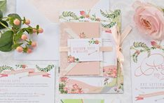 'Midsummer Dream' wedding invitation and stationery suite by Paperknots. Image Credit: Hannah McClune Photography