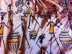 Congolese Fabric--African Wax Print Fabric--Ankara Fabric  by the HALF YARD.African Figures/Drums/Baskets in Yellow, Tan, Brown, and Black. - pinned by pin4etsy.com