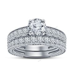 3.81 CT Round Cut Dimaond 925 Silver With 4 Prong Setting Bridal Ring Set  5-12…