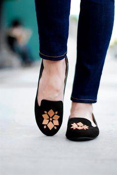 DIY Shoes : DIY Leather Embellished Loafers