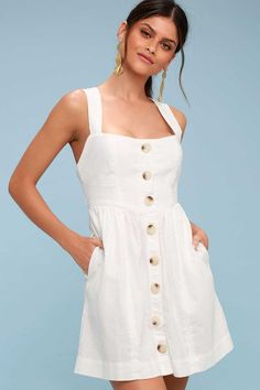 Free People Carolina - White Button-Up Mini Dress Cute Spring Outfits, Summer Outfits Women, Cute Outfits, Cute Dresses, Beautiful Dresses, Girls Dresses, Summer Dresses, Party Dresses, Honeymoon Outfits