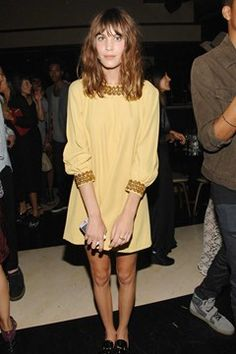 Alexa Chung wore a lemon dress with brocade detail to DJ with Tennessee Thomas at the Tribeca Grand party