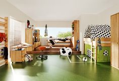 Here is Cool Soccer Bedroom Decor Ideas for Kids Photo Collections at Kids Bedroom Design Gallery. More Picture Design Soccer Bedroom Decor for your references can you found at her Soccer Bedroom, Boys Bedroom Themes, Kids Bedroom Furniture, Football Bedroom, Bedroom Sets, Wooden Furniture, Dream Bedroom, Bedroom Green, Teen Bedroom