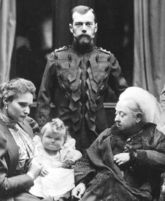 Queen Victoria, at Balmoral, 1896, with Tsar Nicholas II, her grandaughter Empress Alexandra Fedorovna, Grand Duchess Tatiana (baby).